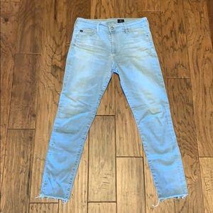 Light blue AG Farrah high rise skinny jeans